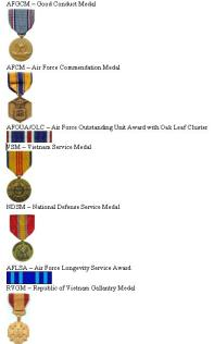 Ron Launius' Air Force Medals.