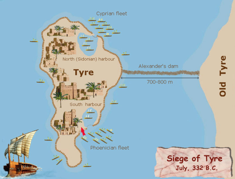 Alexander the great made the island of tyre into a peninsula is sciox Images