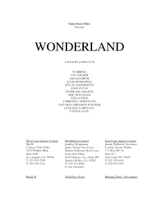 Wonderland movie (credit sheet?)