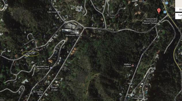 "The tavern was located at the Red ""A"" marker. Yellow circle is Wonderland house. The Canyon Store is just south on Laurel Canyon Blvd."