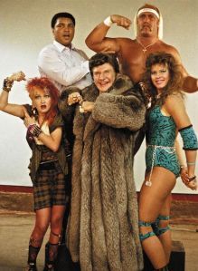 The woman on the right is an 80s female wrestler I guess.