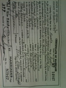 The Launius' marriage cert.