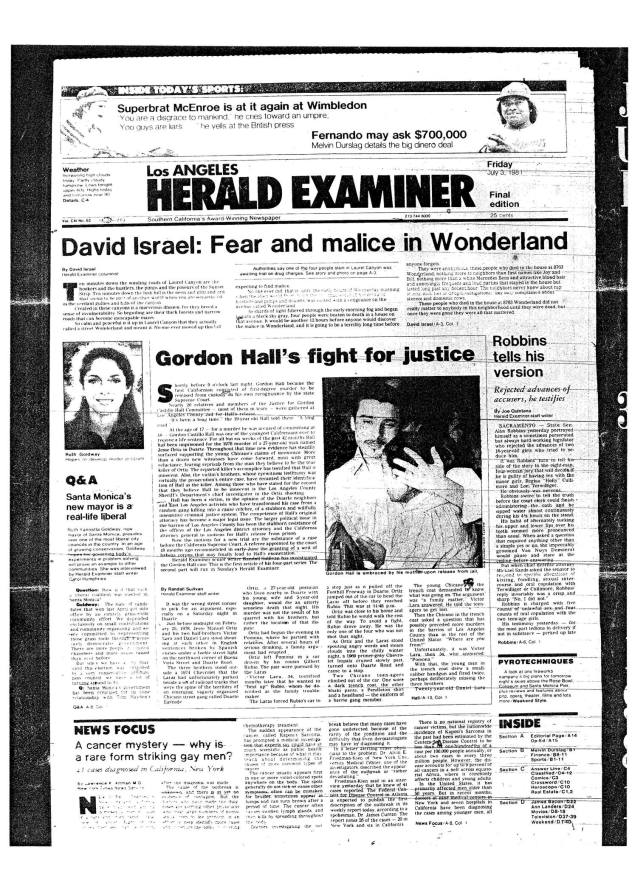 L.A. Herald-Examiner. July 3, 1981.