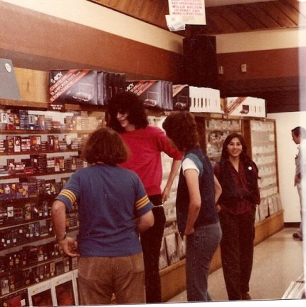 Joey Ramone visits Sound Warehouse. Because of his stardom, the mgr gave him like 30 free tapes.