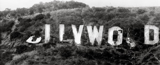 "1978 Decay of the Hollywood Sign. I can't believe it was so bad. Each letter was sponsored by a rich person to fix it. Alice Cooper bought one of the ""O""s in honor of Groucho Marx."