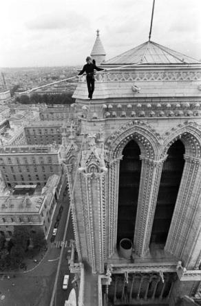 Philip Petit, showing us how it's done. Notre Dame, France. Mid 70s.