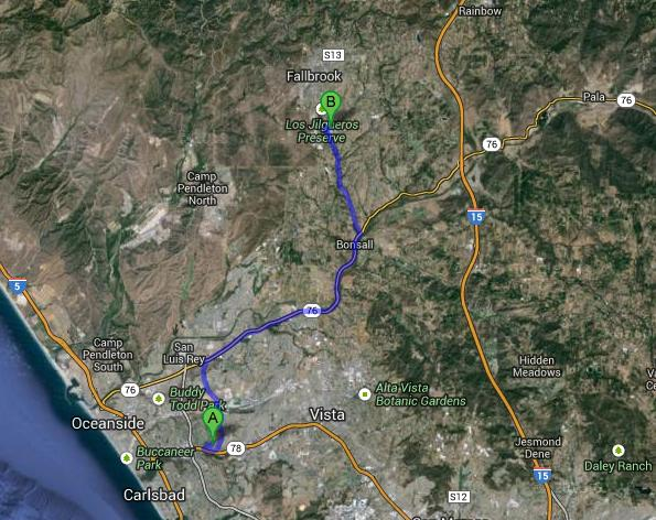 16.8 miles. Helen's father was also a fireman at Camp Pendleton. He could have gotten a transfer to the north base, just west of Fallbrook High.