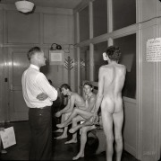 Hollywood draft office, 1941. Hey doc, can't we take the eye exam with our clothes on?