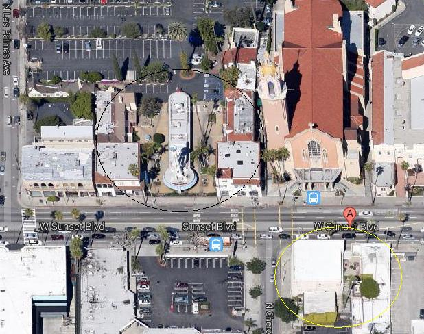 Crossroads of the World (circled, middle left) and Sunset Sound Studios (lower right) where the Doors recorded their first couple of albums.