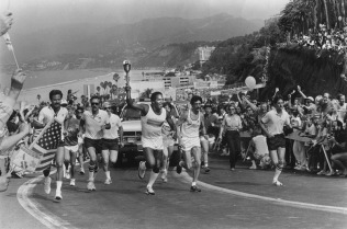 OJ with the Olympic torch, 1984.