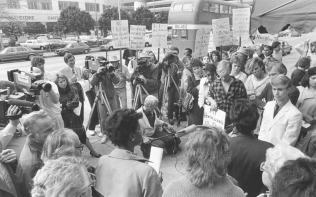 Kids protest the closure of Eddie Nash's Odyssey Club. 1985.