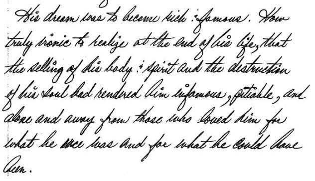Sharon's own handwriting